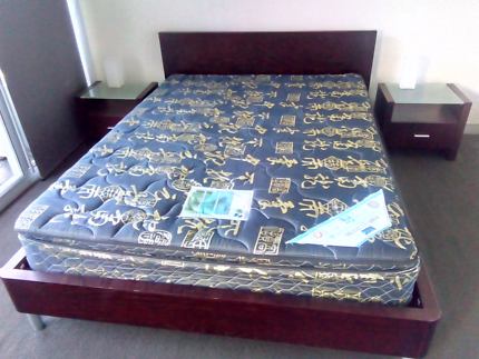 Queen bed, mattress and side-tables