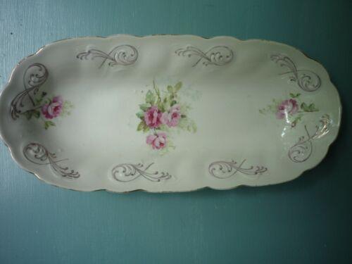 """Vintage Crown Germany Porcelain 12"""" Celery Dish~Gold Scroll / Delicate Floral"""