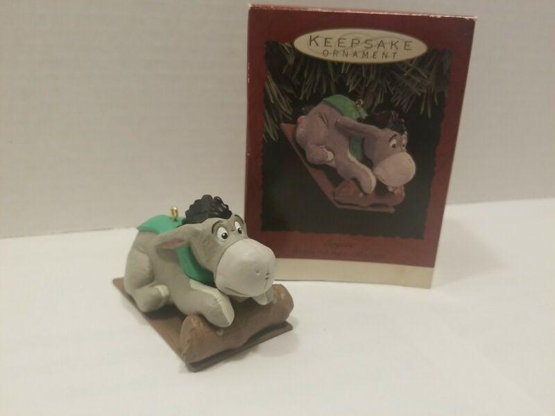 Eeyore Sledding Hallmark Keepsake Christmas Ornament 1993Disney Winnie the Pooh