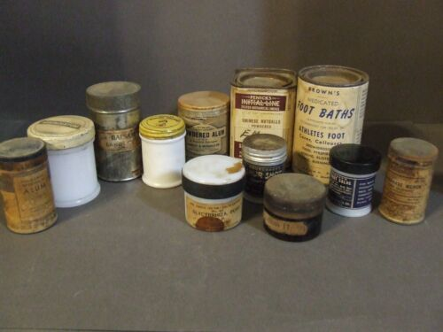 LOT OF 12 ANTIQUE VINTAGE PHARMACY MEDICINE TINS MILK GLASS JARS POWDERS