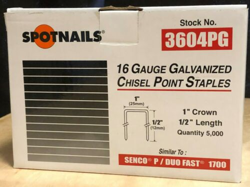 Spotnails 3604PG Wide Crown Staples Senco, DuoFast, Hitachi Type 1/2″ (5,000)