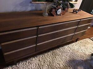 Walnut 9 Drawer Dresser