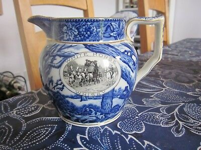 PERFECT CONDITION WHITE HORSE WHISKY WATER JUG BLUE & WHITE STONEWARE BY SHELLEY