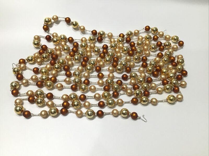 18 Feet Glass Beaded Christmas Garland Gold Brown 2 Strands