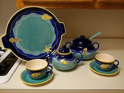 Artesa Ecuador Hand Painted Pottery 10 Pieces Seashells Soup Taureen