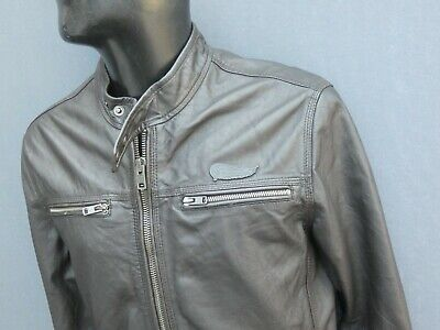 SUPERDRY BROWN LEATHER RACING JACKET SIZE M VERY GOOD CONDITION!!!!!!
