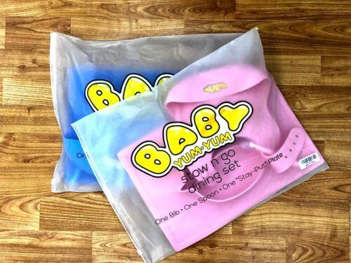 Baby Feeding Set Suction Silicone Bib Plates Bowls Spoons BPA Free Toddler Divid