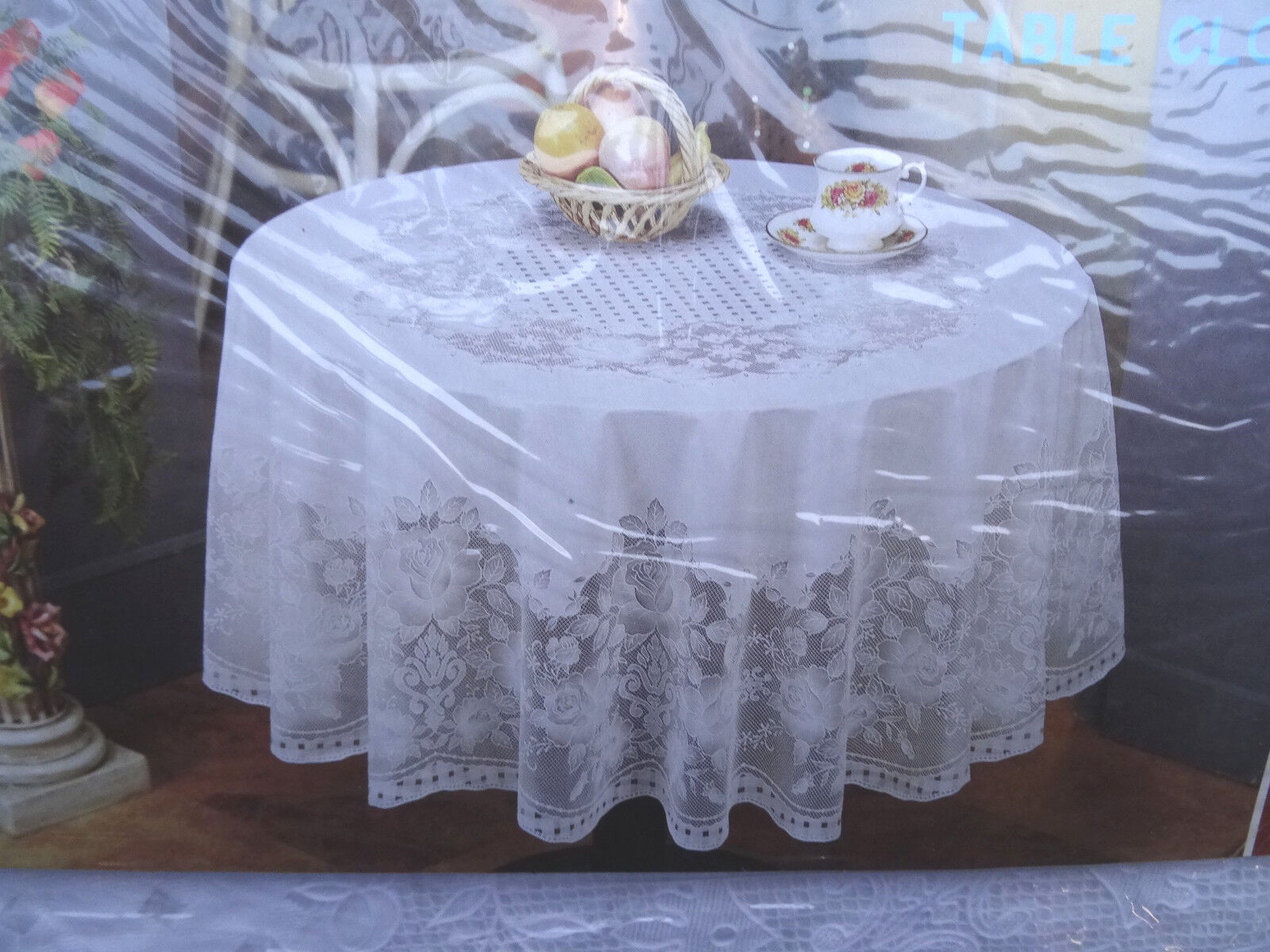 180 cm rund wei tischdecke rund schutzdecke balkon garten blumenmotiv vinyl ebay. Black Bedroom Furniture Sets. Home Design Ideas