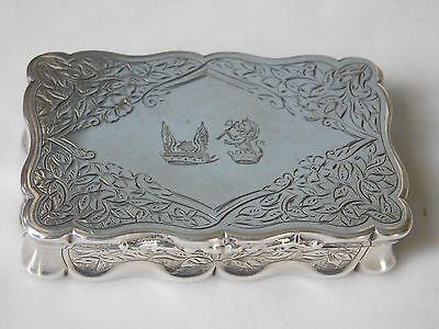 SUPERB VICTORIAN ARMORIAL SILVER SNUFF BOX George Unite 1879