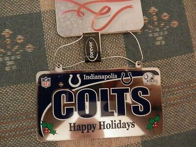 Indianapolis Colts Ornament Steel License Plate NFL NEW AUTHENTIC Nfl Licensed Indianapolis Colts Ornament