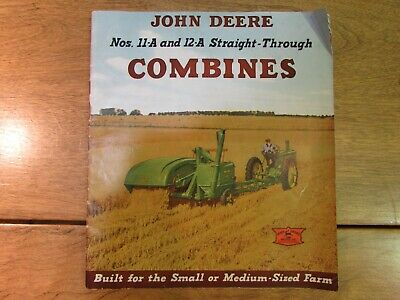 Vintage John Deere Sales Brochure 11A 12A Combines Catalogue w Fold Out Poster