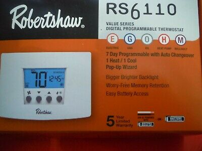 Robertshaw Rs6110 Digital Programmable Thermostat