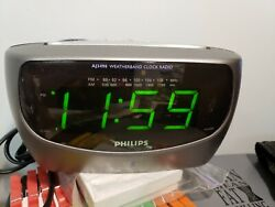 Philips Large Display AM/FM/Weather Band Dual Alarm Clock Radio AJ3490.