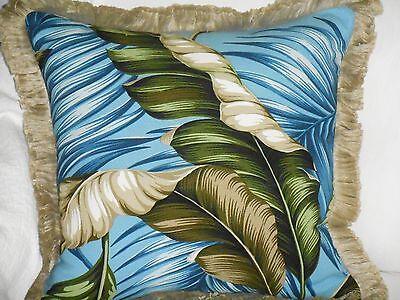 Hawaiian Tropical Barkcloth Fabric PILLOW ~Banana Leaves-Slate /Vintage Fringe~ for sale  Shipping to India