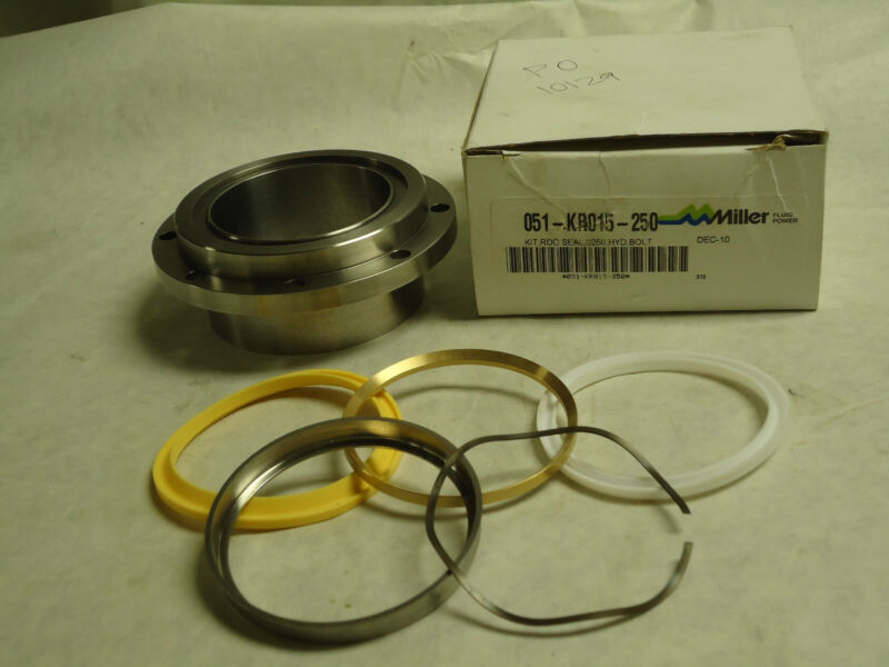 """NEW PARKER MILLER 2"""" HYDRAULIC CYLINDER PISTON ROD SEAL KIT BOLTED 051-KR015-250"""