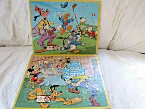 Set Vtg 1962 Walt Disney's Inlaid Puzzle Happy Birthday & Golf Mickey Donald