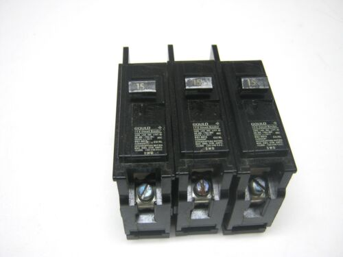 3 Gould BQ1B015 1 pole 15 amp Circuit Breakers Lot of 3 NEW ITE SWD ~