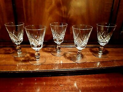 5 VINTAGE CRYSTAL VODKA PORT SHOT GIN LIQUER GLASSES ENGLISH STUART CHATO CHIC