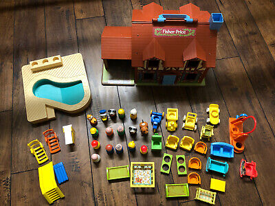 Fisher Price Little People 952 Play Family House & Pool Extra | Near Complete