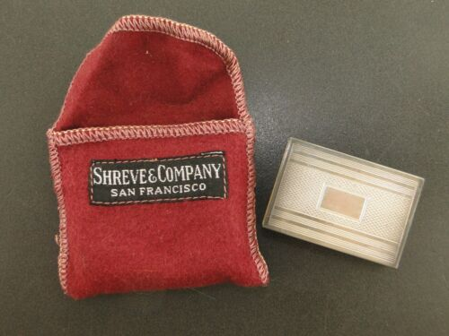 SHREVE & CO. STERLING SILVER ANTIQUE MATCHBOX WITH MATCHES & COVER