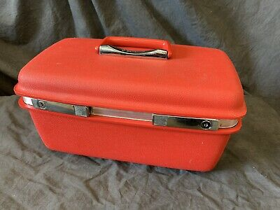 Vintage Samsonite Luggage~Candy Apple / Coral Red~Train Case/Makeup/Toiletry