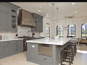 Decapage armoire  de cuisine , comptoir granite ,quartz