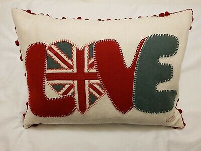 BNWOT Jan Constantine Fab LOVE wool cushion with bobble trim