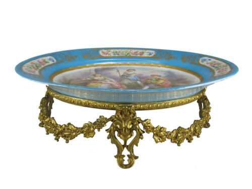 Antique French Sevres bronze & porcelain tray # AR815