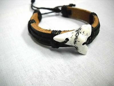 NEW THICK BLACK LEATHER with WHITE RESIN SHARK TOOTH ADJ CORD BRACELET JAWS SURF - Shark Tooth Bracelet
