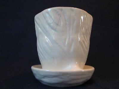 FLOWER POT PLANTER! Vintage BRUSH McCOY pottery: matte WHITE glaze: LOVELY!