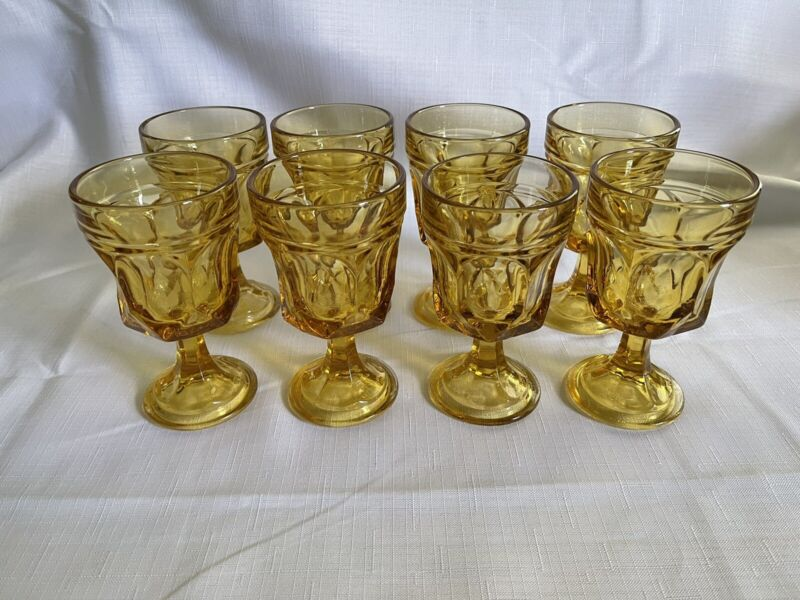 Vintage Anchor Hocking Fairfield Amber/Honey Gold Wine Glasses (8) FREE SHIPPING