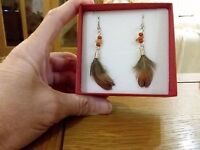 Brand Long Silver Earrings Tiny Real Stone Beads And Real Feathers+ Gift Box -  - ebay.co.uk