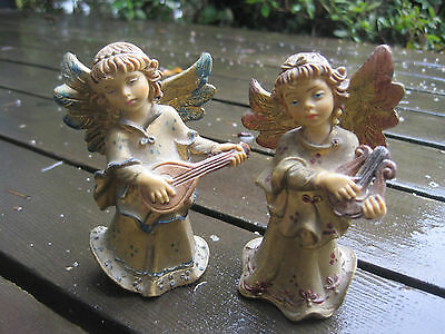 Vintage Italy Angel Pair Hanging Standing Lyre Lute Musicial Instrument Italian