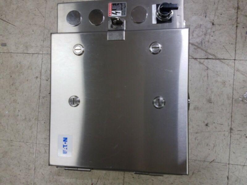 1 NEW EATON CUTLER HAMMER C30CNE LIGHTING CONTACTOR W/ ECC039A3A SS ENCLOSURE 4X
