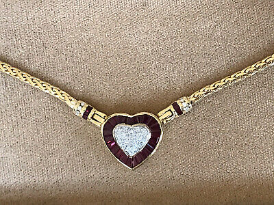 18 Kt Gold Ruby And Diamond Heart Shaped Necklace Signed KJ. 15.3 GRAMs. Gold Ruby Heart Necklace