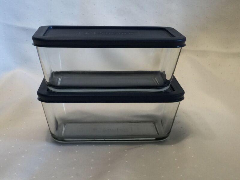 2 Anchor Hocking Glass Baking Storage Leftover Dishes Blue Lids 1 Qt Rectangular