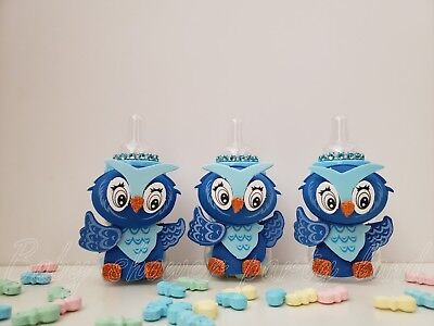 Baby Shower 12 Owl Favor Fillable Blue Bottles Prizes Games Boy  Decor Recuerdos - Owl Boy Baby Shower