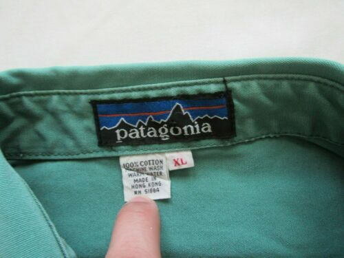 Vtg 70s Patagonia Big Label Canvas Cotton Shirt Sz XL Green Chouinard Outdoor