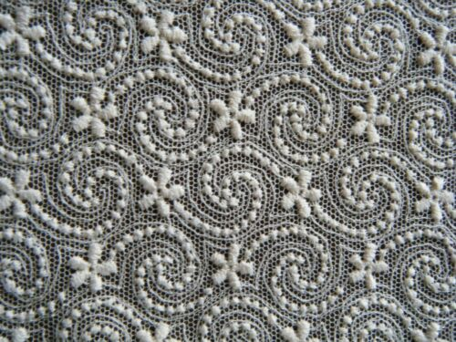 Antique19c Embroidered mesh Lace Fabric Remnant Sewing Repair Doll clothes