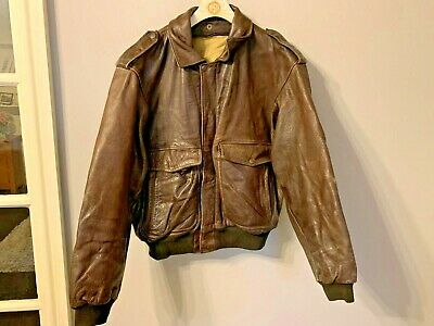 VINTAGE 70s KUDSAK DISTRESSED LEATHER BOMBER JACKET SIZE L