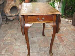 Drop Leaf Table - Antique (Petite With Drawer) - With Wings 105cm Brunswick East Moreland Area Preview