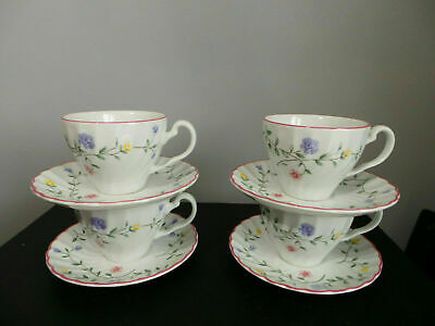 JOHNSON BROTHERS SUMMER CHINTZ TEA CUPS AND SAUCERS X4
