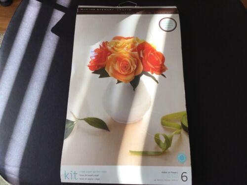 MARTHA STEWART CREPE PAPER RED & ORANGE ROSE KIT - SIX FLOWERS