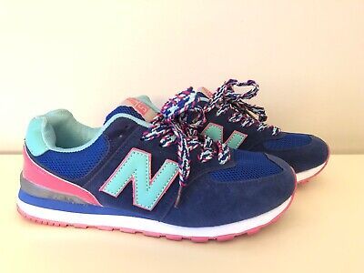 Womens NB New Balance 574 Blue Pink Running Shoes Sneakers Size 6.5