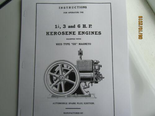"""1925 IHC """"M"""" 1 1/2-6 HP Kerosene Instructions/Parts Manual,EK mag & spark plug"""