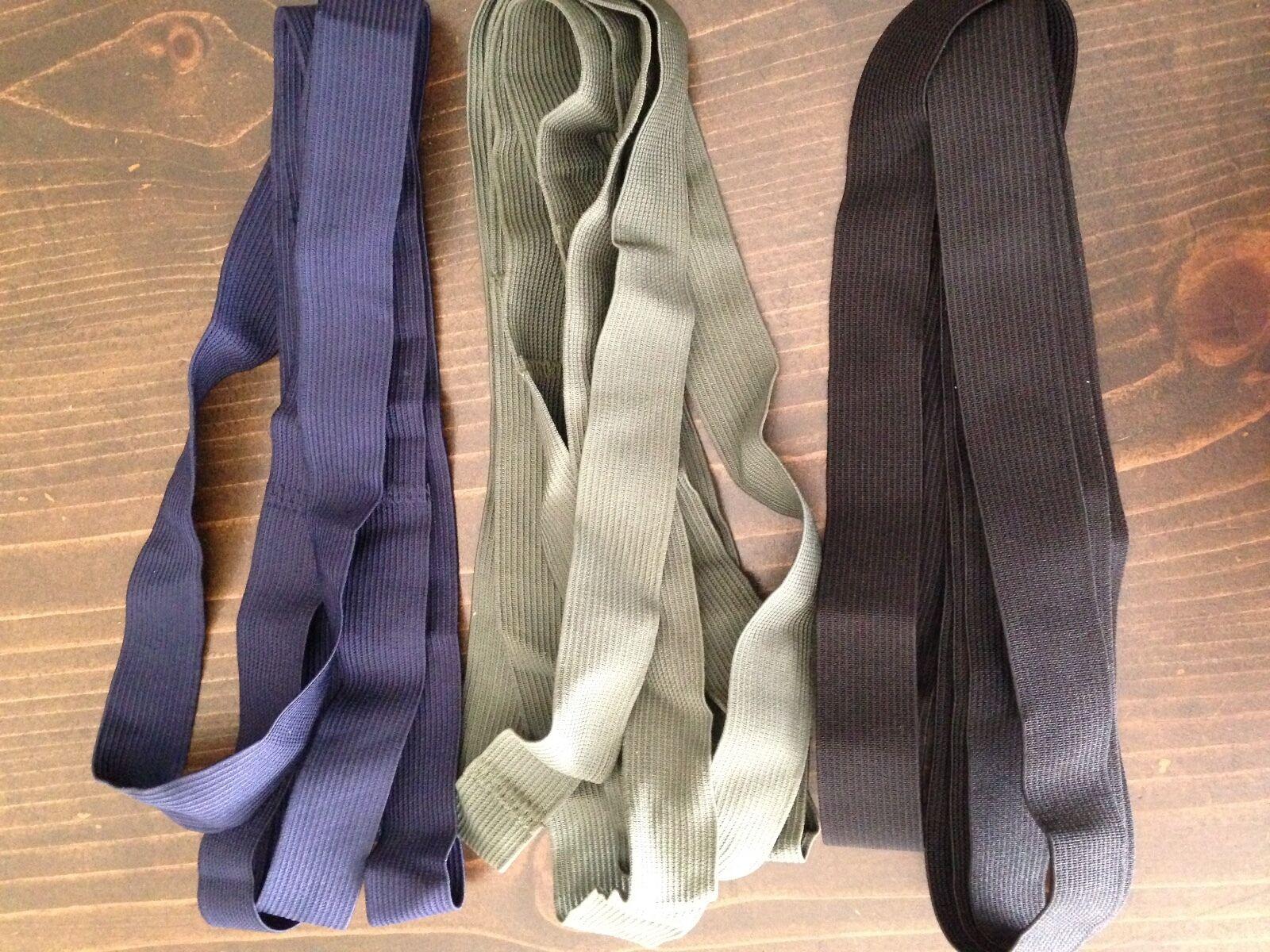 1 1/4 inch Black Blue Green Elastic Strap, Webbing, Band 1 f