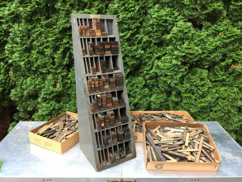 Antique VTG Wood LETTERPRESS Print Type Reglet Furniture Cabinet & 3 Full Boxes