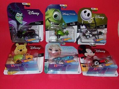 "Hot Wheels Disney Mickey Mouse Elsa Winnie Pooh Maleficent Skellington ""U PICK"""