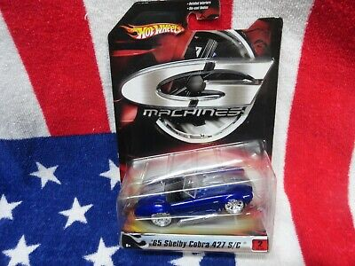 HOT WHEELS G MACHINES BLUE 1965 FORD SHELBY COBRA 427 S/C 1/50 SCALE #L0887 NEW