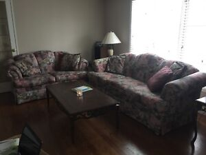 Deco rest floral couch and loveseat